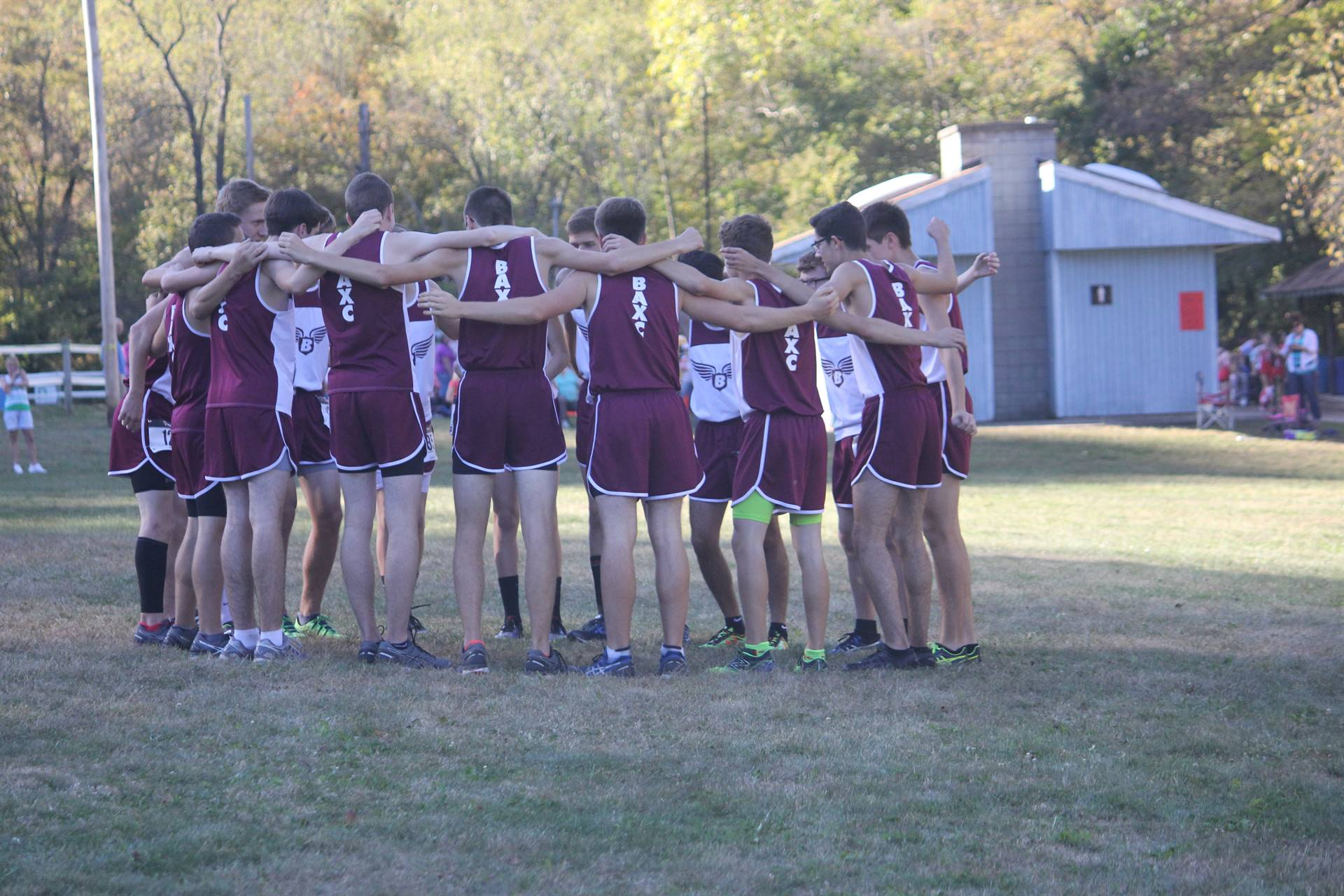Boy's Cross Country - Preparing the team before the race!