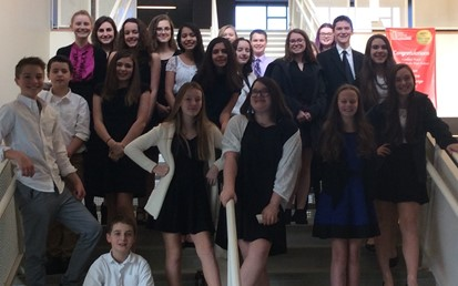Twenty-two students posing at the Forensics Competition at Cardinal Wuerhl-North Catholic High School