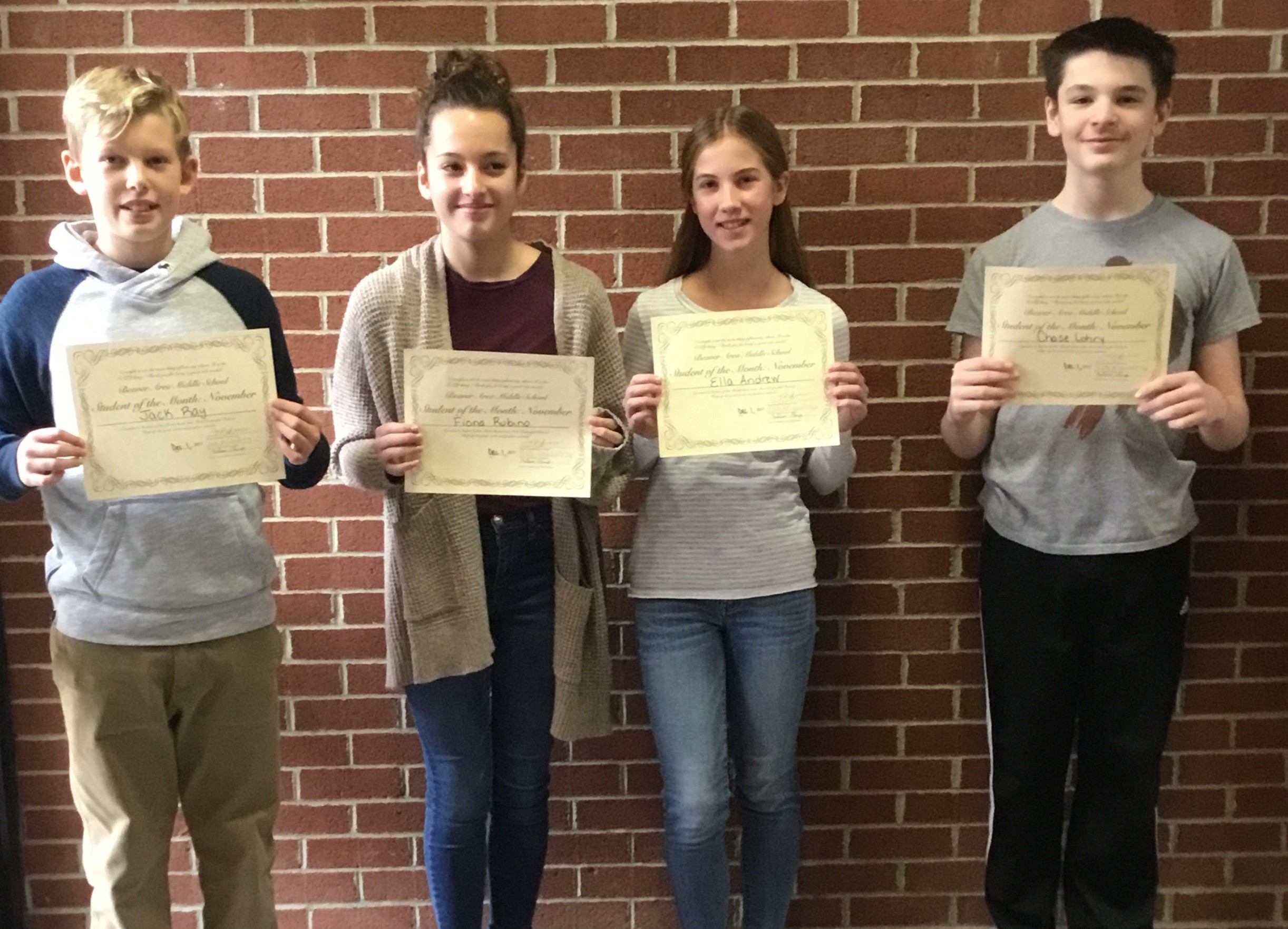 Four Middle School Students of the Month for December 2017