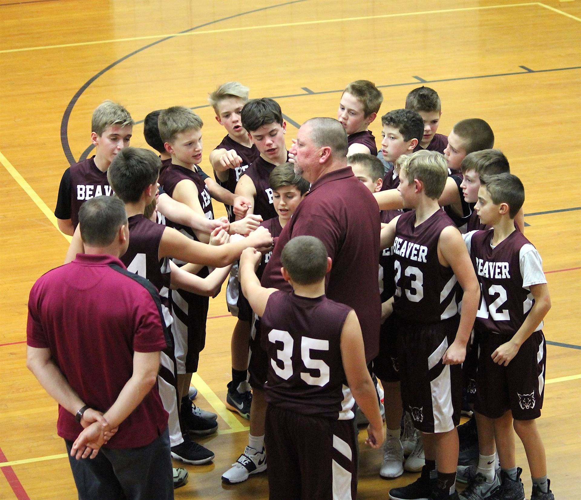Coaches King and Mengel fire up the 7th grade basketball team!