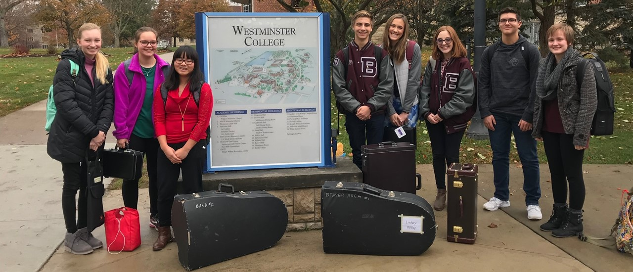 Eight students who participated in Honors Band auditions at Westminster College