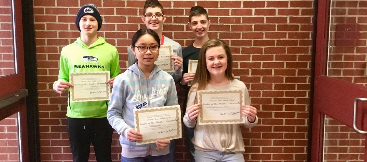 Five Middle School Students of the Month for November 2018