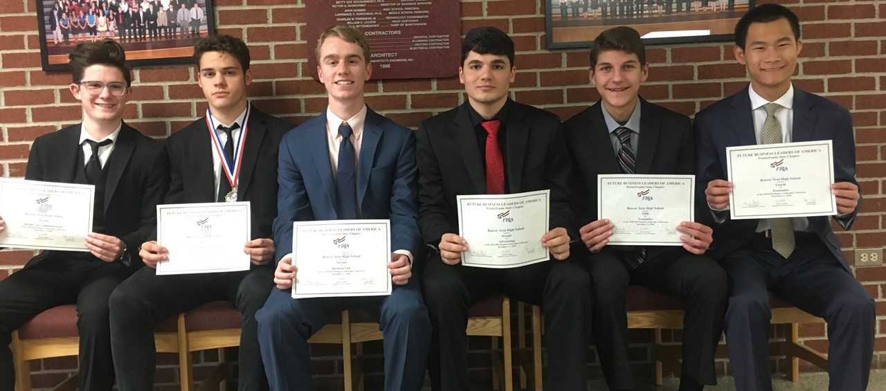 Six male students who attended FBLA Regional Leadership Conference