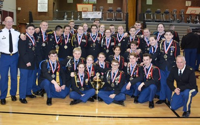 JROTC Cadets with medals and trophy after winning League Drill Competition on March 3
