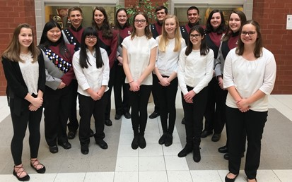 Fourteen Middle and High School Students who participated in Beaver County Band Festival