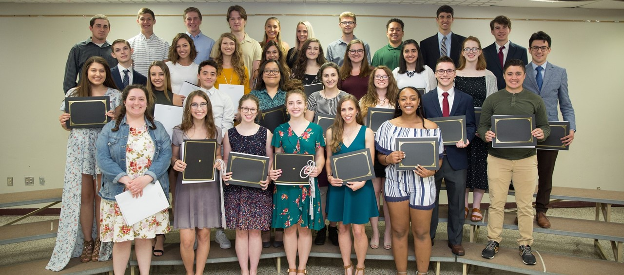 Students who received scholarships at the Academic Awards Banquet