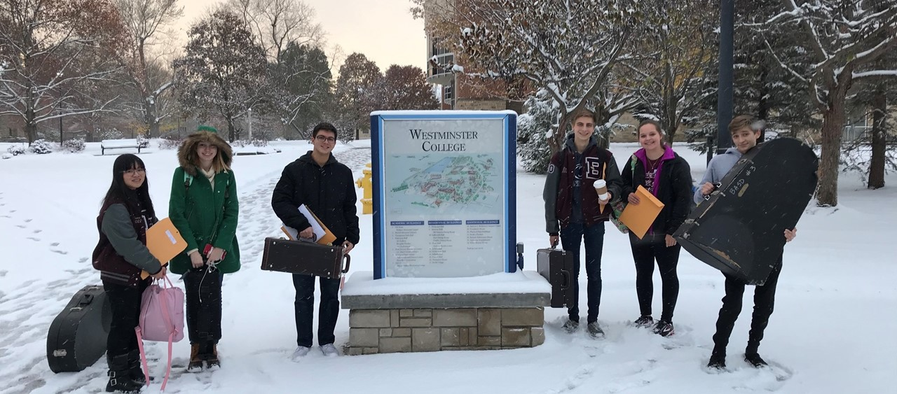 Six members of the High School Band who participated in PMEA Honors Band at Westminster College