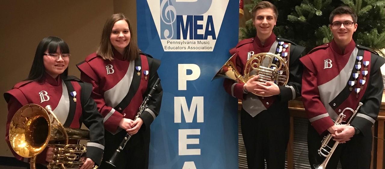 Four Beaver Area musicians at PMEA Regional Band