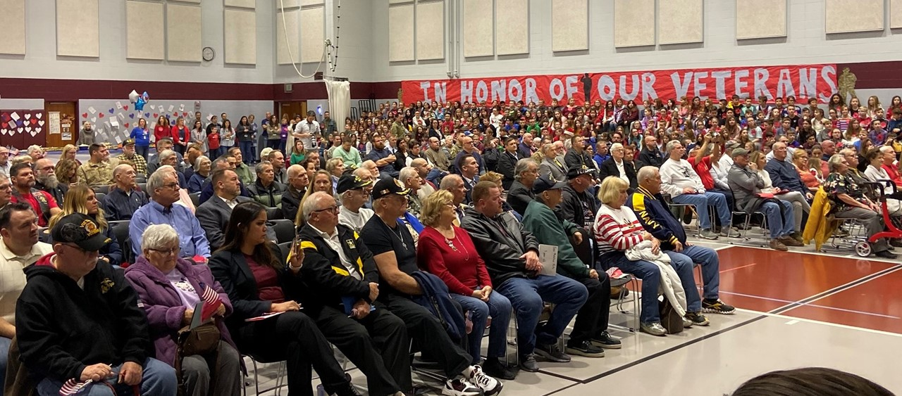Veterans being honored at an assembly at Dutch Ridge Elementary School