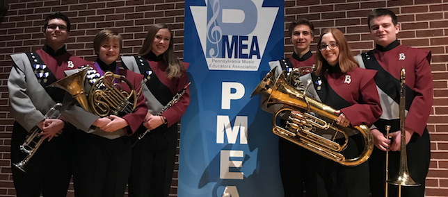 Six students who participated in PMEA District Band Festival at Beaver Area High School
