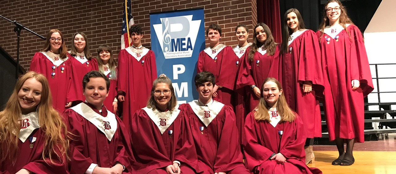 Fourteen members of Beaver's Choir who participated in PMEA District 5 Chorus Festival