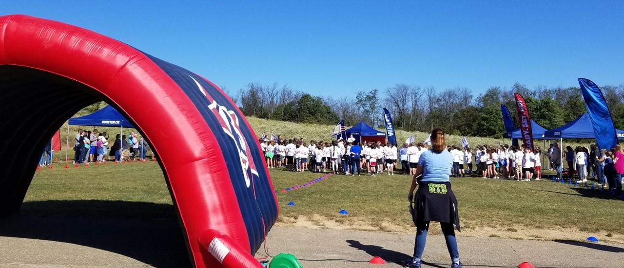 Students at Dutch Ridge Elementary preparing for the Fun Run