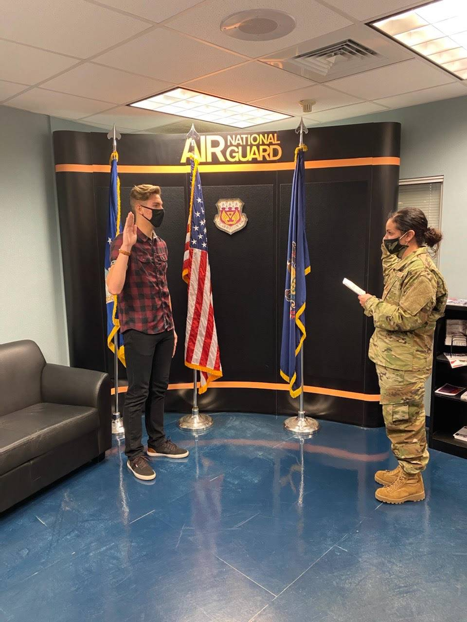 Spencer Hagen swearing in to PA National Guard