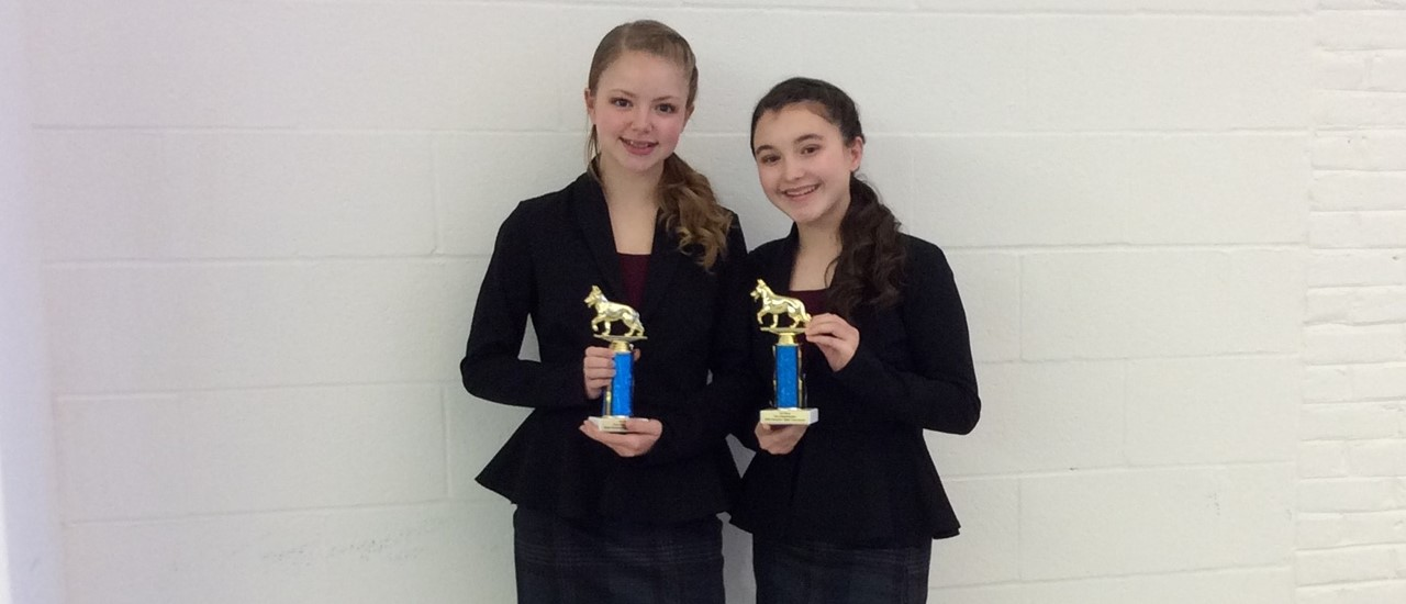 Two Middle School students who placed 3rd at Dramatic Duo at Hampton
