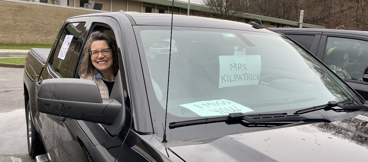 Mrs. Kilpatrick in the BASD Staff Parade on 3/28/20