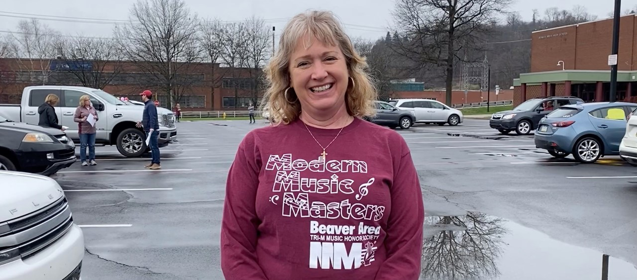 Mrs. Metelsky at the BASD Staff Parade on 3/28/20